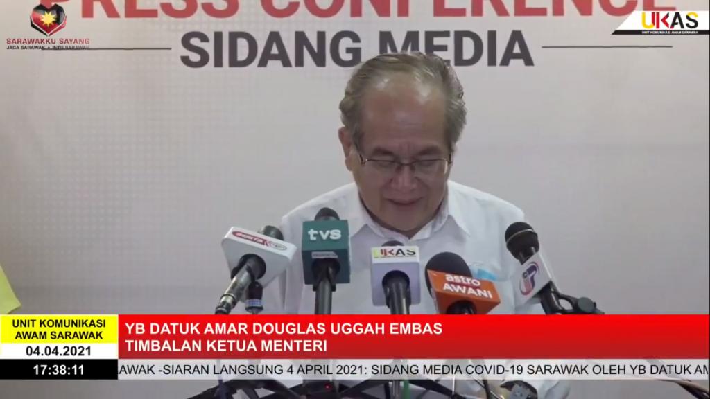 Sidang Media COVID-19 Sarawak oleh Yang Berhormat Datuk Amar Douglas Uggah Embas (04/04/2021)
